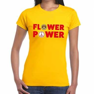 Goedkoop flower power tekst t shirt geel dames carnavalskleding