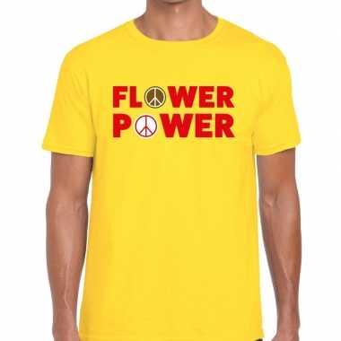 Goedkoop flower power tekst t shirt geel heren carnavalskleding