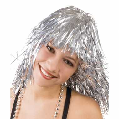 Goedkoop folie pruiken zilver carnavalskleding