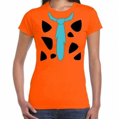 Goedkoop fred holbewoner carnavalskleding t shirt oranje dames