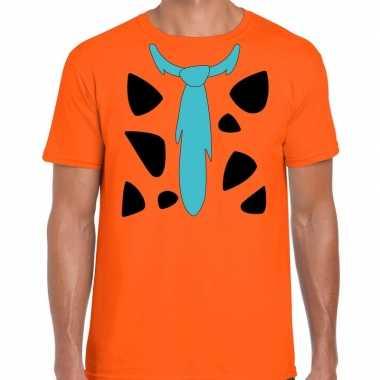 Goedkoop fred holbewoner carnavalskleding t shirt oranje heren