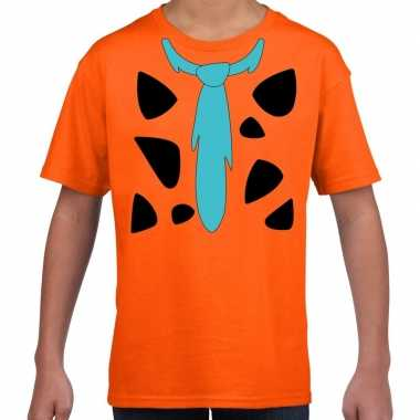 Goedkoop fred holbewoner carnavalskleding t shirt oranje kinderen
