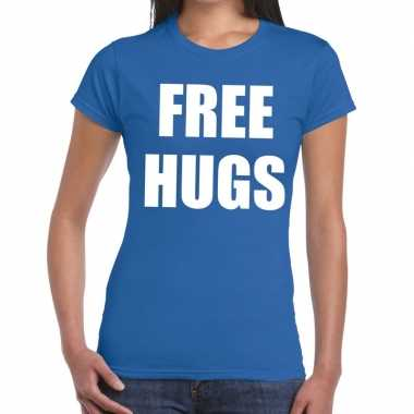 Goedkoop free hugs tekst t shirt blauw dames carnavalskleding