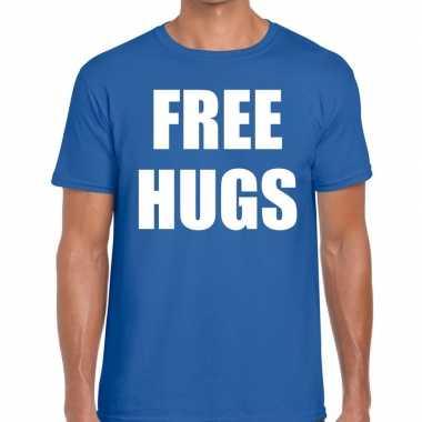Goedkoop free hugs tekst t shirt blauw heren carnavalskleding