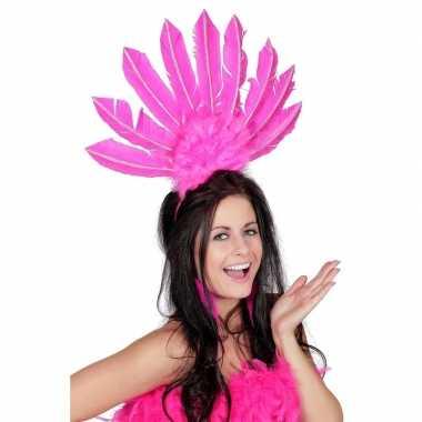 Goedkoop fuchsia roze haarband veren dames carnavalskleding