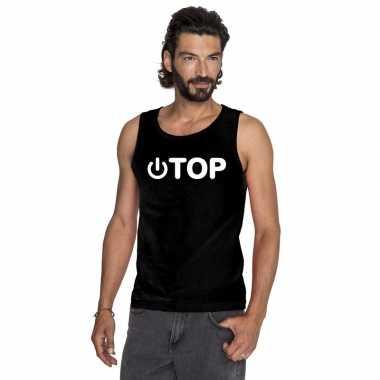 Goedkoop gay singlet shirt/ tanktop power top zwart heren carnavalskl