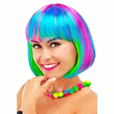Goedkoop gekleurde boblijn dames pruik carnavalskleding