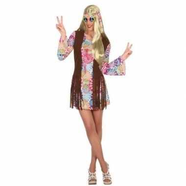 Goedkoop gekleurde flower power jurk dames carnavalskleding