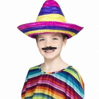 Goedkoop gekleurde mexicaanse sombrero kind carnavalskleding