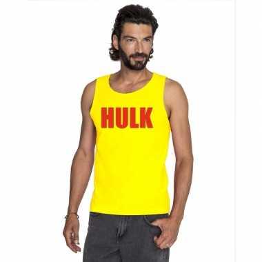 Goedkoop gele hulk tanktop / hemdje rode letters heren carnavalskledi