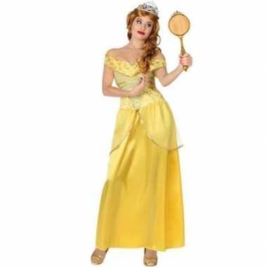 Goedkoop gele prinsessen verkleed jurk dames carnavalskleding