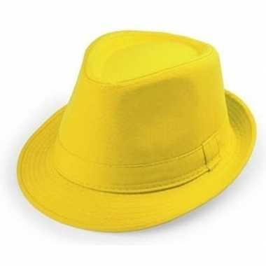Goedkoop gele trilby hoedjes volwassenen carnavalskleding