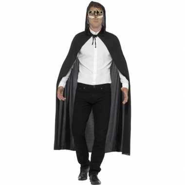 Goedkoop gemaskerd bal feest zwarte cape capuchon luxe muzieknoten oo