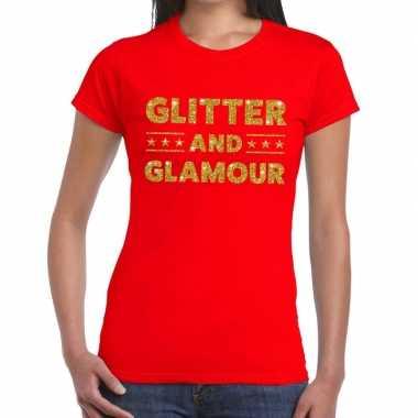 Goedkoop glitter and glamour glitter tekst t shirt rood dames carnava