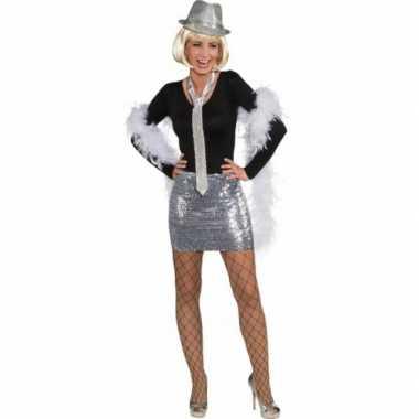 Goedkoop  Glitter pailletten rok/top zilver carnavalskleding
