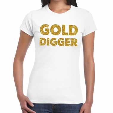Goedkoop gold digger glitter tekst t shirt wit dames carnavalskleding