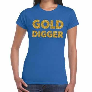 Goedkoop gold digger gouden glitter tekst t shirt blauw dames carnava