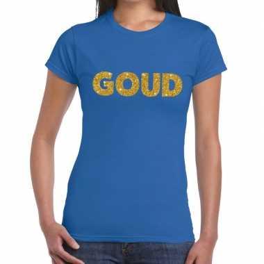 Goedkoop goud glitter tekst t shirt blauw dames carnavalskleding