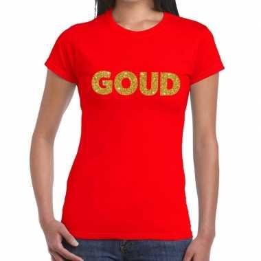Goedkoop goud tekst t shirt rood dames carnavalskleding