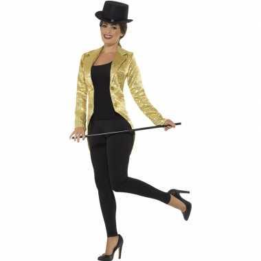 Goedkoop gouden directeur damesjas pailletten carnavalskleding