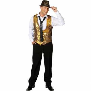 Goedkoop gouden disco gilet heren carnavalskleding