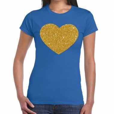 Goedkoop gouden glitter hart t shirt blauw dames carnavalskleding