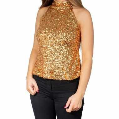 Goedkoop gouden glitter pailletten disco halter topje/ shirt dames ca