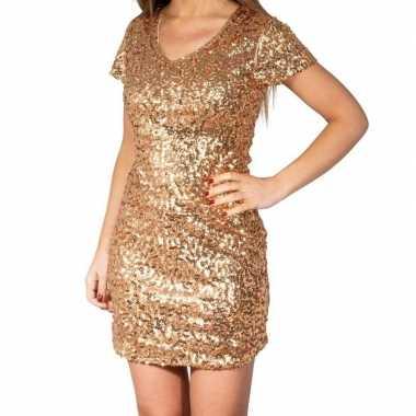 Goedkoop gouden glitter pailletten disco jurkje dames carnavalskledin