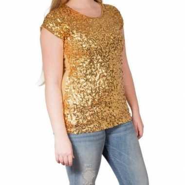 Goedkoop gouden glitter pailletten disco shirt dames l/xl carnavalskl