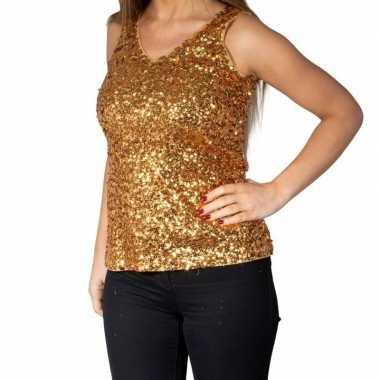 Goedkoop gouden glitter pailletten disco topje/ mouwloos shirt dames