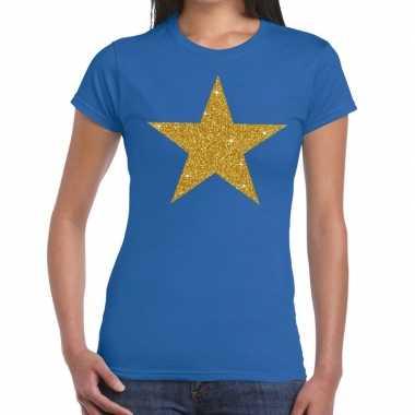 Goedkoop gouden glitter ster t shirt blauw dames carnavalskleding