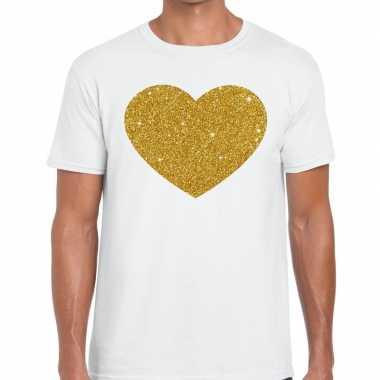 Goedkoop gouden hart glitter fun t t shirt wit heren carnavalskleding