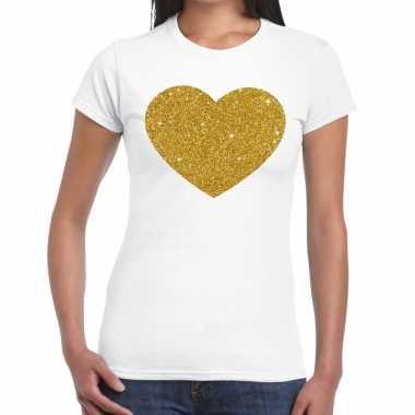 Goedkoop gouden hart glitter tekst t shirt wit dames carnavalskleding