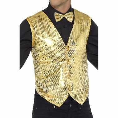 Goedkoop gouden heren gilet pailletten carnavalskleding