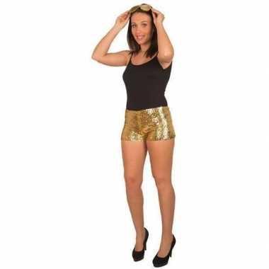 Goedkoop gouden pailletten hotpants dames carnavalskleding