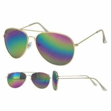 Goedkoop gouden pilotenbril dames/heren carnavalskleding