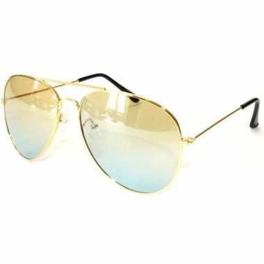 Goedkoop gouden pilotenbril volwassenen carnavalskleding