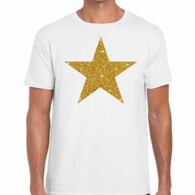 Goedkoop gouden ster glitter fun t t shirt wit heren carnavalskleding