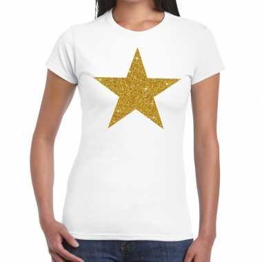 Goedkoop gouden ster glitter tekst t shirt wit dames carnavalskleding