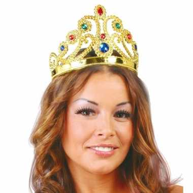Goedkoop gouden tiara edelsteentjes prinsessen carnavalskleding