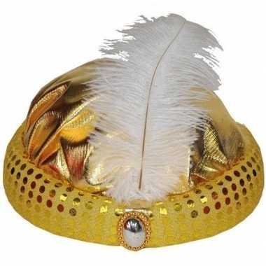 Goedkoop gouden tulband lange witte veer carnavalskleding