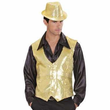Goedkoop gouden vestje pailletten heren carnavalskleding