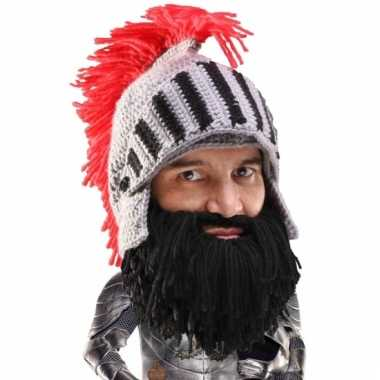 Goedkoop grijze ridder helm zwarte baard carnavalskleding
