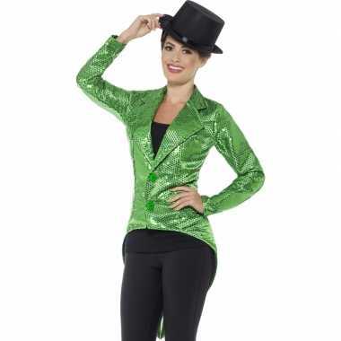 Goedkoop groene directeur damesjas pailletten carnavalskleding