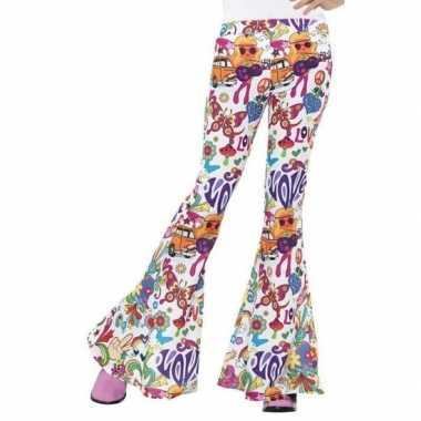 Goedkoop groovy broek wit dames carnavalskleding