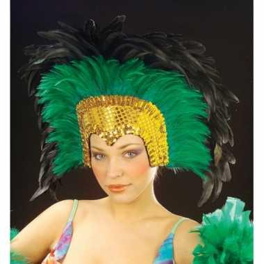 Goedkoop grote luxe hoofdtooi veren groen carnavalskleding