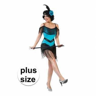 Goedkoop grote maat blauw/zwart jaren jurkje dames carnavalskleding