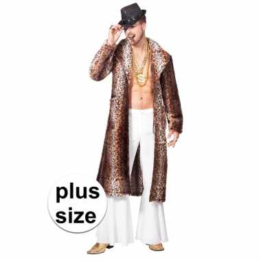 Goedkoop grote maat carnavalskleding bruine pimp/pooier jas