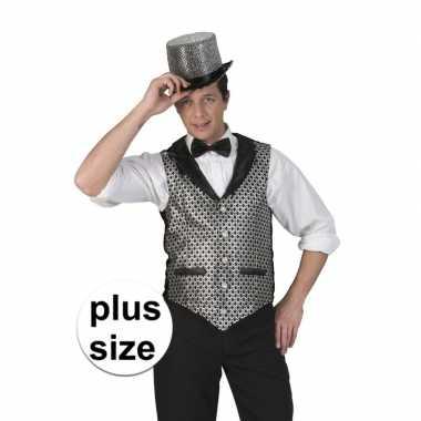 Goedkoop grote maat disco gilet zwart/zilver heren carnavalskleding
