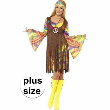 Goedkoop grote maat hippie jurkje gilet dames carnavalskleding